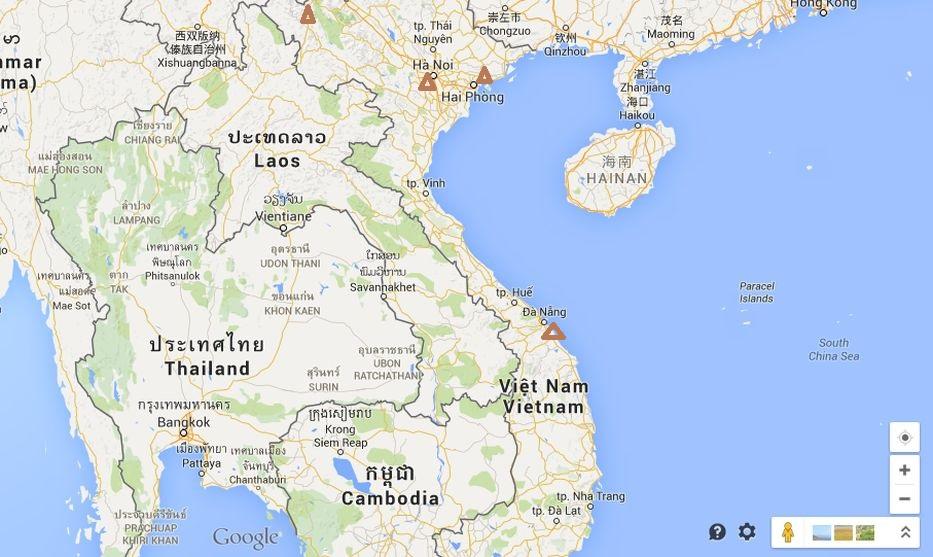 Vietnam mapa sever a střed
