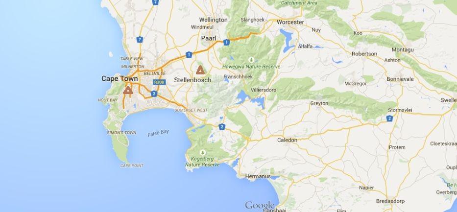 mapa Kapské Město